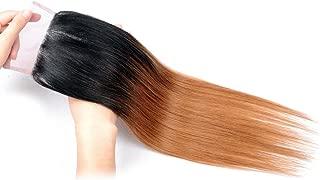 Racily Hair 1B/30 Ombre Brazilian Hair Straight Closure Black to Dark Brown Silky Straight Virgin Human Hair 4x4 Free Part Lace Closure with Baby Hair (1 Piece Closure 10