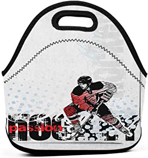 Travel Case Lunchbox with Zip Hockey,Artwork of a Goalie with a Stick Playing Sports Passionate Professional Game Theme, Multicolor,puppy lunch bag for girls