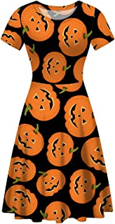 Women's Halloween Short Sleeves Dress Vintage Style Round Neck A-Line Flare Party Dresses