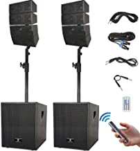 PRORECK Club 3000 12-Inch 3000 Watt DJ/Powered PA Speaker System Combo Set with Bluetooth/USB/SD Card/Remote Control (Two Subwoofers and 8X Array Speakers Set)