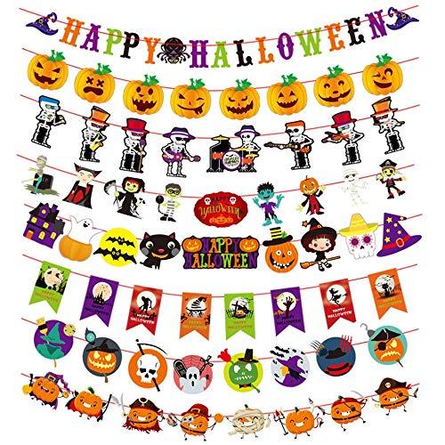 MEJOSER Decoración Halloween 8pcs Guirnaldas Papel Banner Happy Halloween Banderines Calabazas Calaveras para Fiesta Halloween