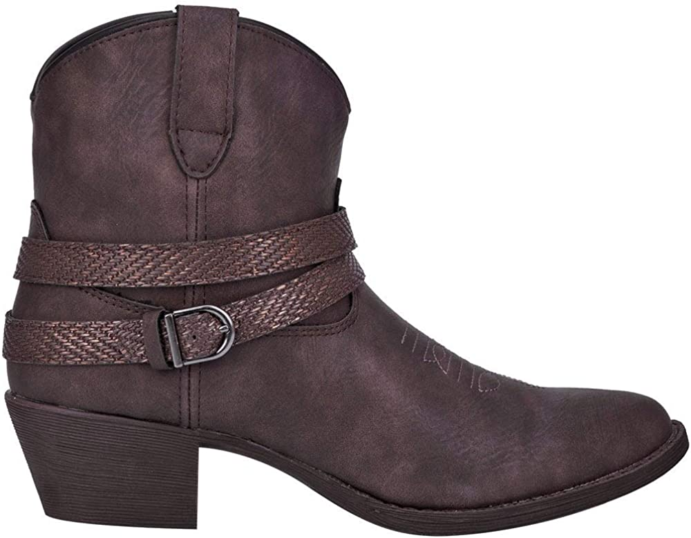 Dingo Womens Aydra Embroidery Round Toe Western Cowboy Boots Ankle Low Heel 1-2