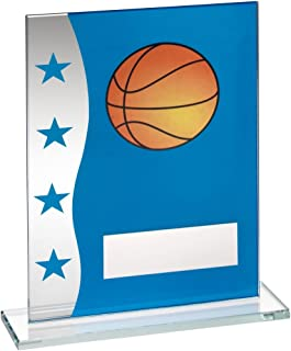 Lapal Dimension BLUE/SILVER PRINTED GLASS PLAQUE WITH BASKETBALL IMAGE TROPHY - 6.5in