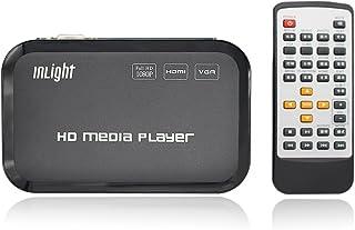 InLight HD801メディアプレーヤー HDMI/VGA出力USB/OTG/SD/AV/TV/AVI/RMVB フルHD 1080P対応 高画質再生マルチ出力 ゲットHDMIデータケーブル (HD801)