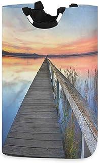 ZOMOY Grand Organiser Paniers pour Vêtements Stockage,Sunset Reflections Lake Long Jetty Wooden Waterscape Horizon idylliq...
