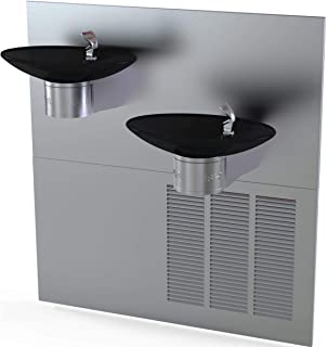 Halsey Taylor 8634084864 OVL-II Wall Mounted 8 (GPH) ADA Indoor Rated Bi-Level Water Cooler with Recessed Chiller - Black Basin