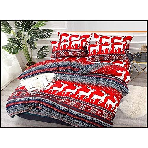Fashion Home - Set copripiumino natalizio con Babbo Natale, 3 o 4 pezzi, multicolore, 100% lino cotone satinato