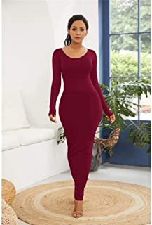 FDBZ Autumn Winter Elegant Long Sleeve Turtleneck Long Dress Solid Casual Robe High Stretchy Yellow Maxi Dress Plus Sizes|Dresses,YD1113 Wine Red,4XL