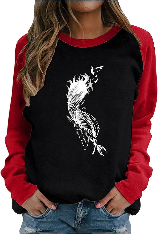 Hotkey Sweatshirt for Women, Crewneck Sweatshirts Long Sleeve Tops Swallow Feather Arrow Print Pullover Top Blouse T-Shirts