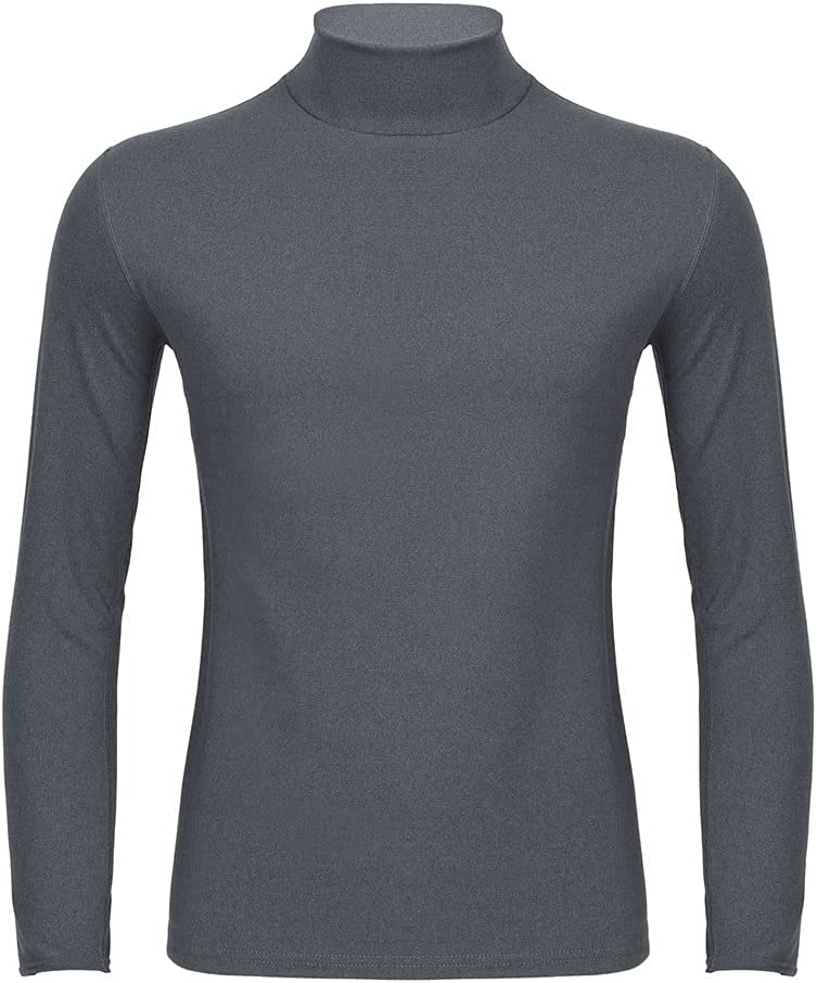 SLATIOM Thermal Underwear Top for Men Solid Color Warm Stretchy Long Sleeve Turtleneck Shirt Seamless Autumn Winter Thermo (Color : A, Size : XXXL code)
