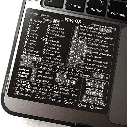 SYNERLOGIC (M1+Intel) Mac OS Big Sur Reference Keyboard Shortcut Sticker - Black, Premium Matte Vinyl, Temporary Adhesive, 3.25'x3' Cheat Sheet for Any 13, 15 and 16 inch Macbooks, iMac and Mac Mini