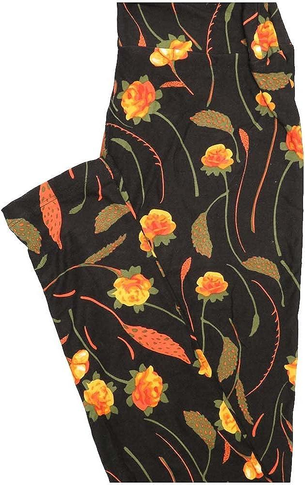 Lularoe One Size OS Floral Black Orange Yellow Leggings (OS fits Adults 2-10)