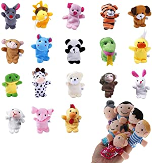Uspacific 24Pcs Animal Finger Puppets, Plush Handmade Sewing Educational Hand Cartoon Finger Puppets Animal Toys for Baby Story Time, Theme Party Favor