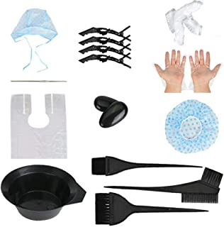 18 Pcs Hair Dye Coloring Kit,DIY Salon Hair Dye Tools with Brushes,Hair Coloring Comb,Ear Covers,Large Hair Tinting Bowl R...
