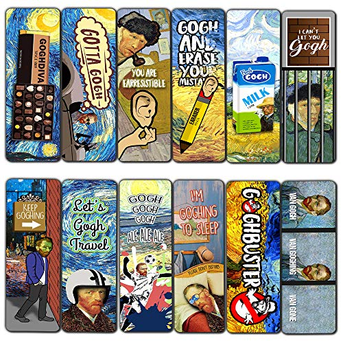 Meme Bookmarks Obsessed with Van Gogh Series 1 (30-Pack) – Premium Gift Set – Funny Van Gogh Famous Art Impressions – Artist Gifts and Rewards Incentives –Silly Jokes Bookmarker Cards