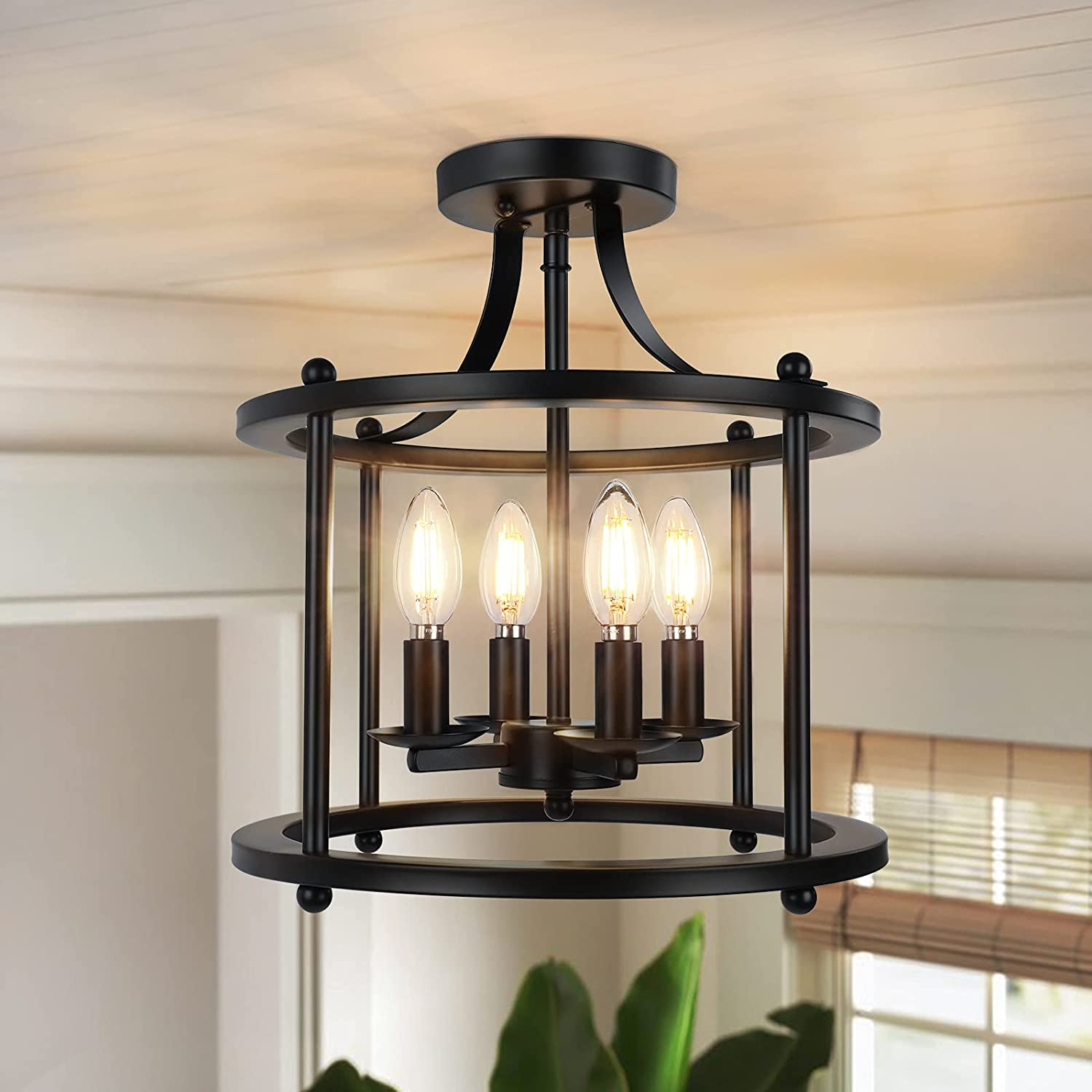 4-Light Farmhouse Ceiling Light Fixture - Industrial Semi Flush Manufacturer sold out direct delivery