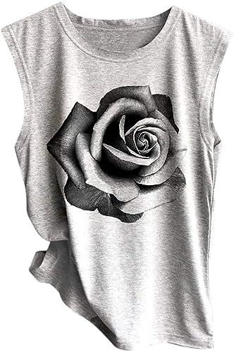 Clearance!!!SIN+MON Women Summer Tops Sleeveless Sunflower Print Shirt Casual Vest Loose Tank Top Soft Comfortable Top