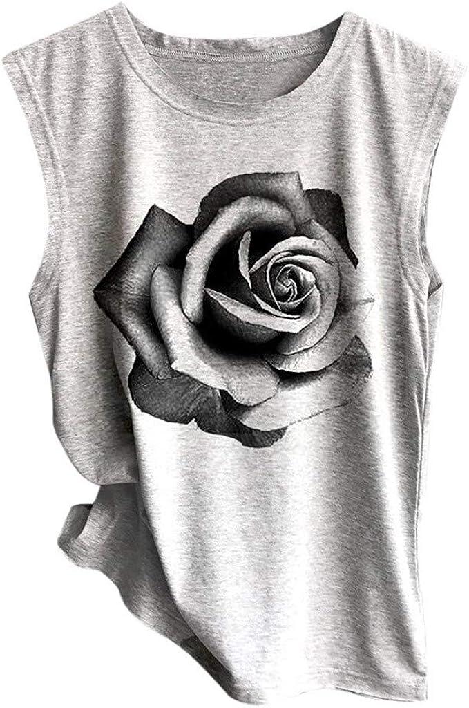 Portazai Tank Tops for Women Casual Crewneck Camisole Cami Top Sexy Stretch Sleeveless Tees Shirt Cute Print Vest Shirts