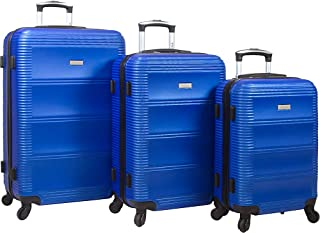 Dejuno Helix 3-Piece Hardside Spinner Luggage Set, Blue