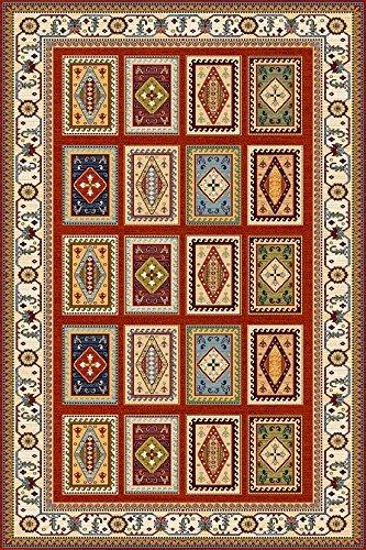 Erdenet Carpet Tappeto Design Orientale, 200x300 cm, Lana, Collezione Ethno, Rosso .(200_x_300)