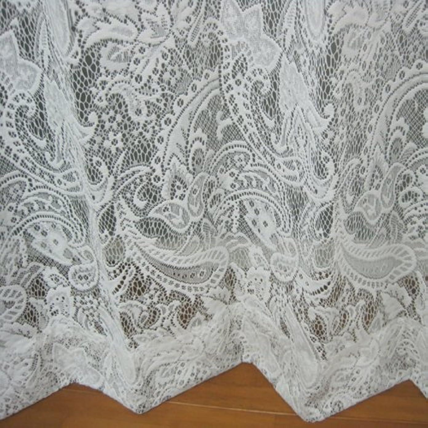 専制コテージ説教する花粉?ほこりキャッチレースカーテン ペイズリー 幅100×丈198cm2枚組