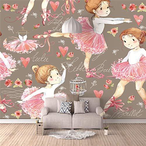 Papel Pintado Bailarina de dibujos animados Fotomurales Decorativos Pared 3D GREAT ART Póster Sala de Estar Dormitorio TV Fondo 200x150CM
