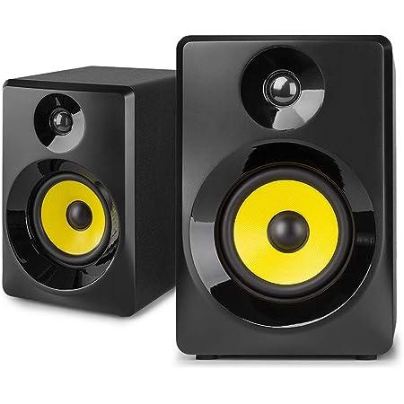 """VONYX SMN50B Enceintes Monitoring – Paire d'enceintes de Studio 5"""", Puissance 140 Watts Max, Réglages Graves et aigus, Qualité idéale pour Mastering en Studio"""