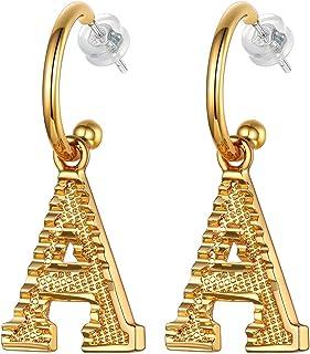 Initial Dangle Earrings Women 18K Gold Plated Personalized Alphabet 26 Letters Charm Hypoallergenic Earrings Jewelry Fashi...