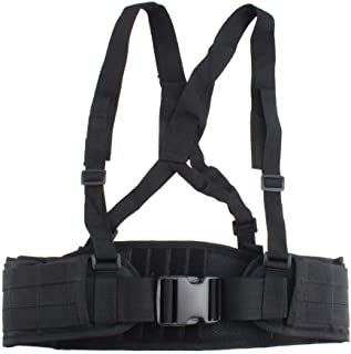 FAMI Tactical Battle Combat Airsoft Padded Equipment Molle Waist Belt with Adjustable Suspenders Free Straps for Patrol Army Training Outdoors Duty