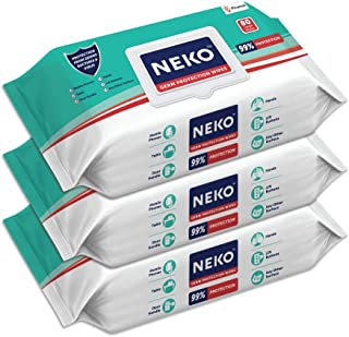 Neko Germ Protection Wipes for Multi-surfaces | Large (200 mm X 200 mm) - Lid Pack of 3 (240 wipes)