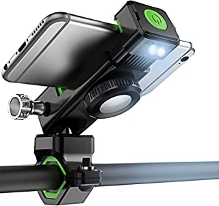 Universal 3 in 1 Bike Phone Mount with LED LightCompass, Adjustable 360 Degree Rotation Bicycle HandlebarHolder for Motorcycle Mountain Road Hybrid BikeiPhone Xs Max X 8 7 6 Plus Samsung S9 S8 S7