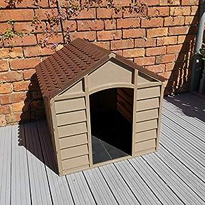 De plástico perro de la perrera - al aire libre refugio de Pet Color marrón