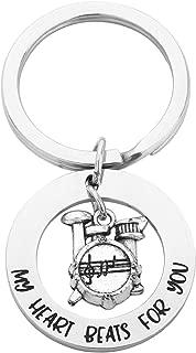 Lywjyb Birdgot Funny Drummer Gift Drummer Boyfriend Gift My Heart Beats for You Drum Charm Keychain Musician Gift Drum Kit Gifts Musician Keychain Percussion Jewelry