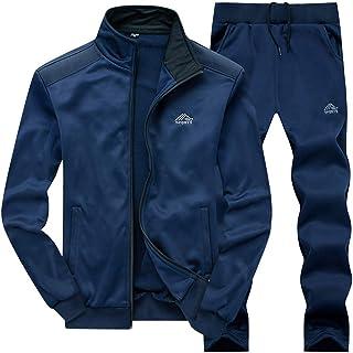 طقم لباس رياضي مكون من قطعتين للرجال - زي رياضي بسحاب كامل طقم رياضي للركض مقاس 2XL أزرق داكن
