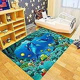 Oukeep Alfombra para La Habitación De Los Niños, Material De Poliéster, Estilo Ocean World, Adecuada para La Habitación De Los Niños, Duradera, Lavable