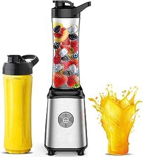 HYLK Mini mixeur personnel - Presse-agrumes pour milkshakes et smoothies - Avec deux bouteilles d'eau portables de voyage,...