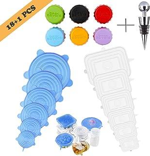 Tapas de Silicona, Tapas de Silicona Elásticas, 12 Tapas de Silicona Ajustables Extensibles Adecuadas para Tazones, Latas, Vasos, etc. - Sin BPA (redonda Blanco, Rectángulo Azul)