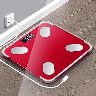 Báscula de baño digital Mini escala electrónica de 26X25cm, de alta precisión, pequeño error, de respuesta rápida, conveniente for la medición de grasa corporal báscula peso corporal (Color : Red)