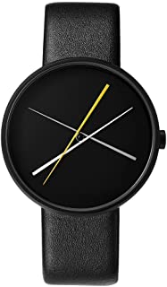 Projects Unisex Crossover 40mm Leather Band Watch (Black)