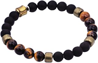 Men's Genuine Semi Precious Natural Gemstone Stainless Steel Bead Bracelet with Fold Over Hidden Clasp