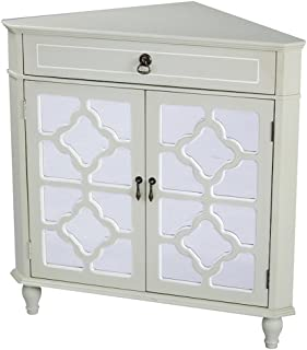 Heather Ann Creations Modern 2 Door Corner Cabinet with Drawer with 8 Pane Clover Mirror Insert Beige/White Trim