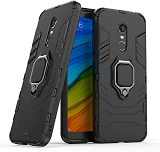 Shockproof Back Cover For Xiaomi Redmi 5 Plus With Ring Kickstand - Black