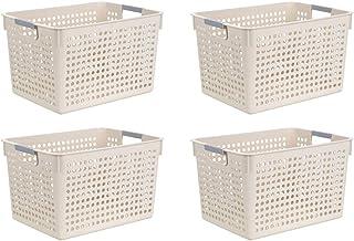Paquet De 4 Paniers De Rangement En Plastique, Boîte De Bureau De Salle De Bains De Panier De Réfrigérateur De Cuisine à A...