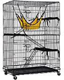 Cat Cage Cat Crate Cat Kennel 48 Inches Cat Playpen with Free Hammock 3 Cat Bed 2 Front Doors 2 Ramp Ladders Perching Shelves