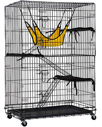 Cat Cage Cat Crate Cat Kennel 48 Inches Cat Playpen with Free Hammock 3 Cat Bed 2 Front Doors 2 Ramp...