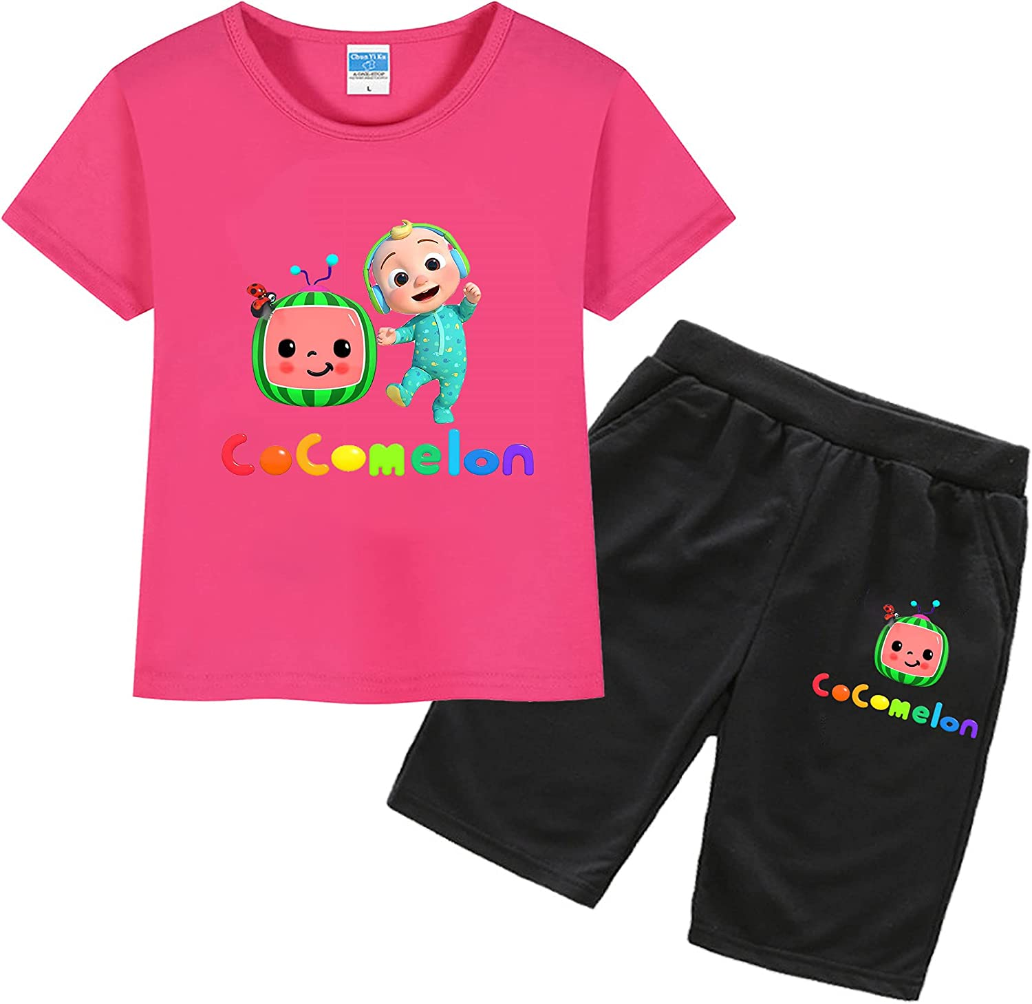 Toddler Boy/Girl Cocomelon Cotton Summer Short Sleeve T-Shirt and Shorts Outfit Set