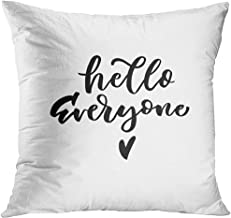Throw Pillow Cover Baby Hello Everyone Hand Lettering Quotes to Babies Clothes Nursery Bags Pillows Overlay Boy Shower Decorative Pillow Case Home Decor Square 18x18 Inches Pillowcase