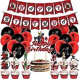 Milagroso conjunto de suministros de fiesta de mariquita ladybug set de globos incluye pancarta globos, decoración de tartas y cupcakes