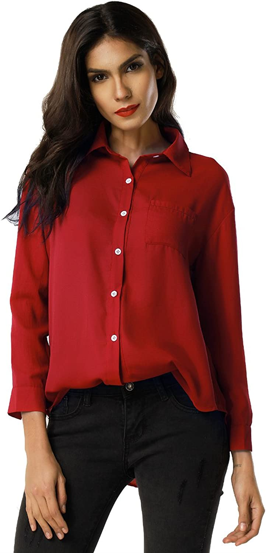 Clarisbelle Women Basic Stand Collar Long Sleeve Blouse