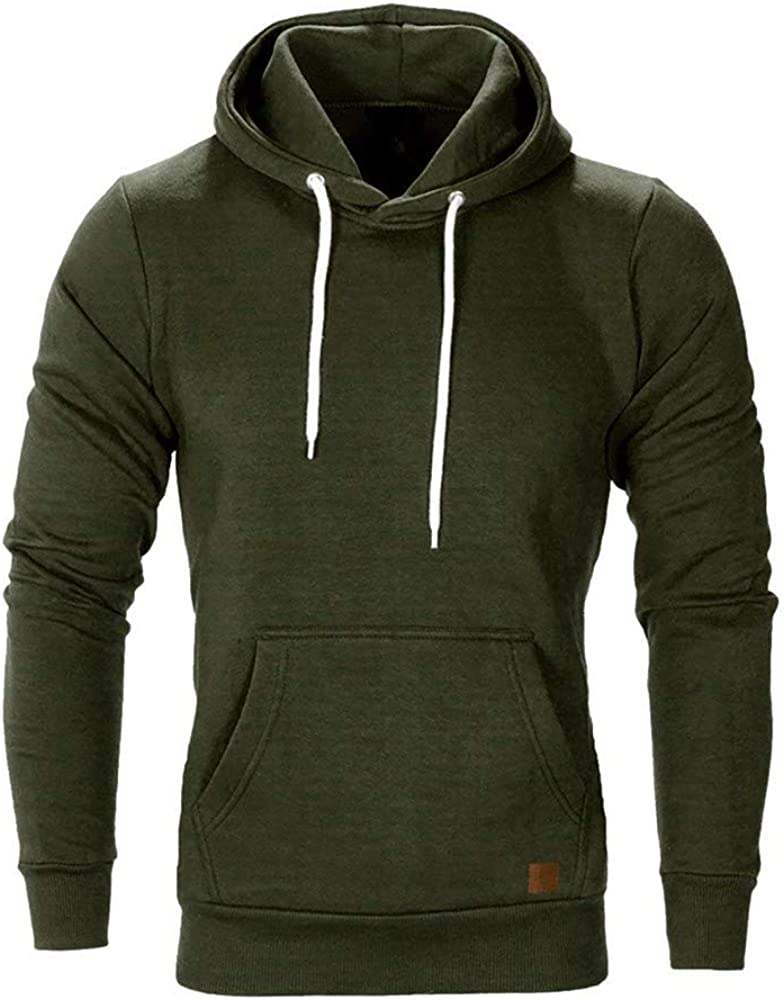 Hoodies Men Pullover Casual Plain Sweatshirts Comfy Loose Long Sleeve Athletic Sport Sweaters Workout Tops